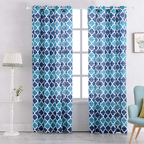 "Print Curtains 84""Length for Living Room Lattice Geometric Pattern Kitchen Window Treatment Set for Bedroom(Blue, 2pcs)"