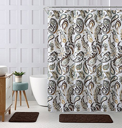 """Decorative Brown Gold Green Fabric Shower Curtain: Watercolor Floral Paisley Design, 72"""" x 72"""" inch"""