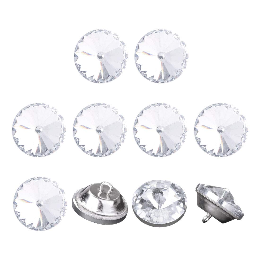 uxcell 10pcs Furniture Tack Nails 20mm Dia Round Head Diamond Shape Glass Thumbtack DIY Sofa Buttons Cupboard Craft Decorate Clear