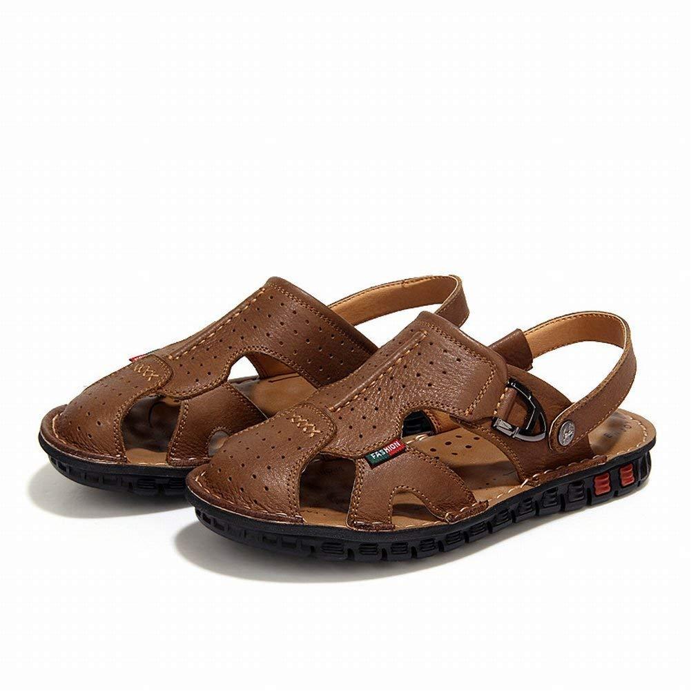 Khaki Fuxitoggo Men's Baotou Sandals The First Layer Of Leather Outdoor Leisure Handmade Men's shoes Non-Slip Portable Beach shoes (color   Black, Size   UK 6.5)