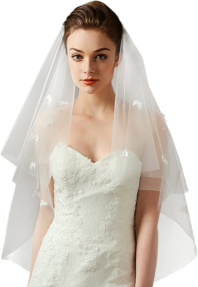 FTSOP Wedding Bridal Veil with Embroidery of Pearls,Bowknot Fingertip Length