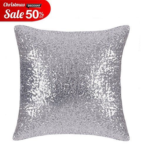 Bling Sequins Throw Pillow Cover - PONY DANCE Glitter Sequins Cushion Cover Sofa Pillow Case for Wedding / Christmas Decoration Including Hidden Zipper,18 x 18 inches,1 Cover Pack,Silver (Graphics Christmas Glitter)