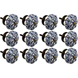 Nicola Spring Ceramic Cupboard Drawer Knobs - Vintage Flower Design - Dark Blue - Pack Of 12