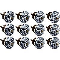 Nicola Spring Ceramic Cupboard Drawer Knobs - Vintage Flower Design - Dark Blue - Pack Of 12