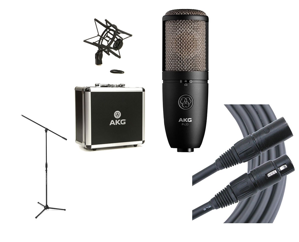 AKG P420 Studio Condenser Microphone + Ultimate Mic Stand + Mogami Cable