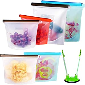 Newox Reusable Silicone Food Storage Bags (Set of 6) - 2xLarge 50oz, 2xMedium 30oz, 2xSmall 16oz, Leakproof Food Grade Silicone bags for Vegetable, Liquid, Snack, Meat, Sandwich