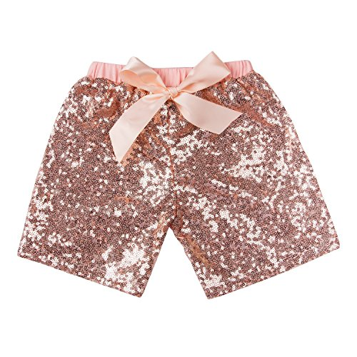Messy Code Baby Girls Shorts Toddlers Short Sequin Pants Newborn Sparkle Shorts with Bow , Peach, L(2-3Y)