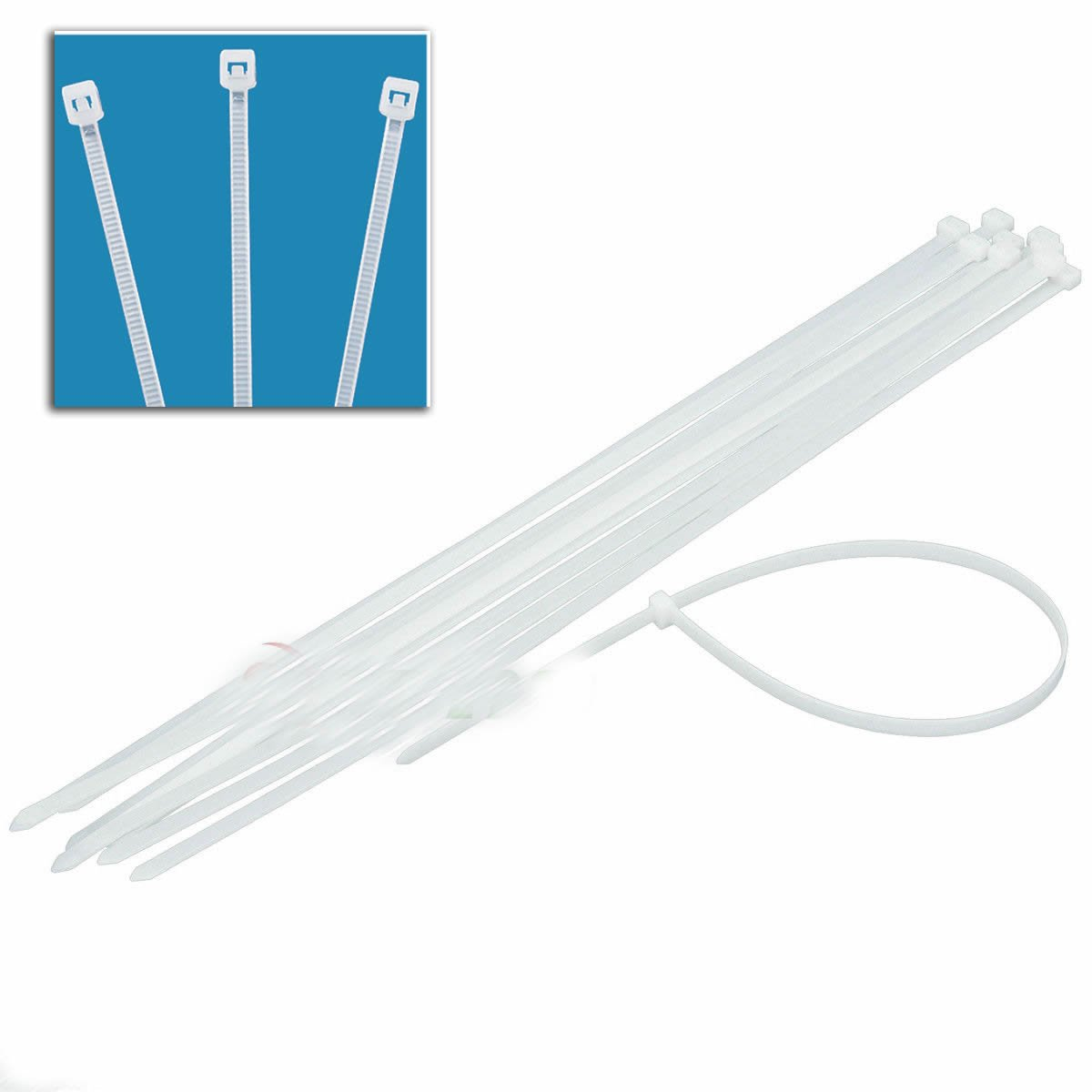 12pc 28'' White Cable Ties Heavy Duty 165lb 9mm X 28'' Long Zip Ties