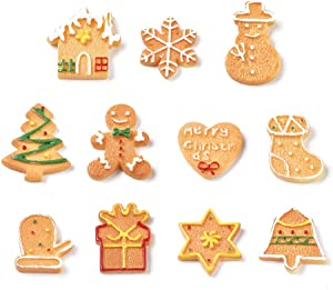 Airssory 22 Pcs Christmas Theme Flatback Mixed Shaped Biscuit Faux Food Simulation Model Slime Charms for X'Mas Jewelry Making Home Party Cake Decoration