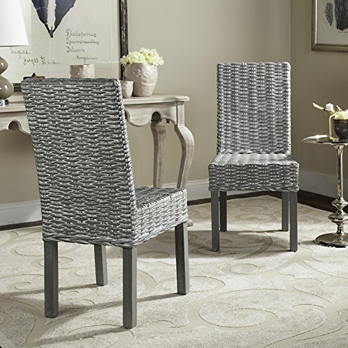 Safavieh FOX6525A-SET2 Home Collection Wheatley Wash Dining Chair, Set of 2, Grey/White (Rattan Chair Parsons)