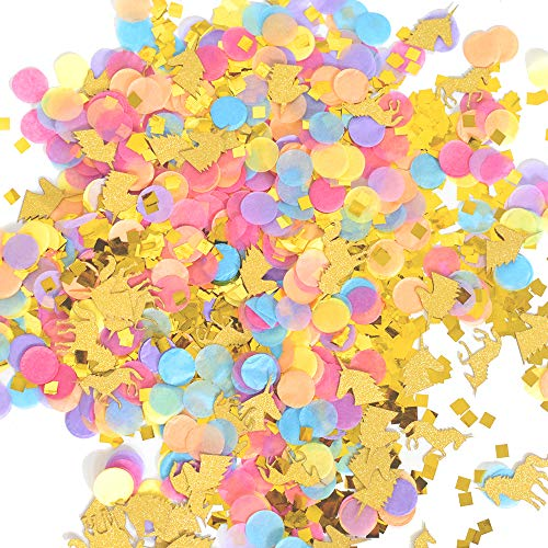 Unicorn Theme Confetti Gold Foil Muti-Color Confetti Girls Birthday Party Baby Shower Decorations, 1oz