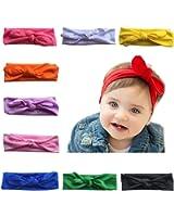 Arlai 10 Color Baby Rabbit Ear Headband Headwrap Turban Set Of 10