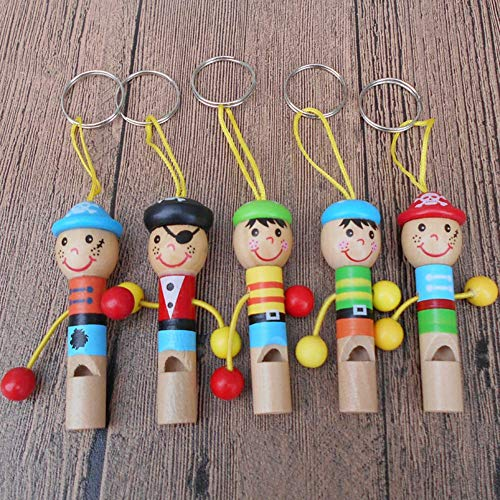 Potelin Kids Children Cartoon Pirate Wooden Whistle Musical Instrument Toy Keychain Gift Durable and Useful