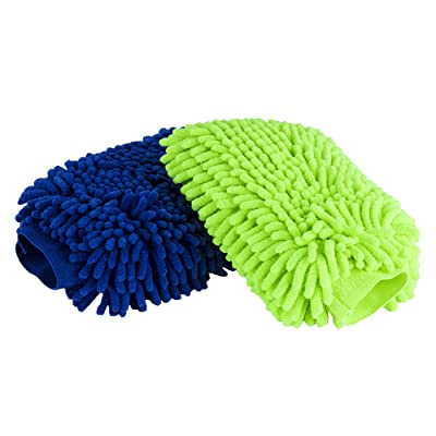 Waterproof Car Wash Mitts, Multi-Purpose Super Large Superior Double-Sided Chenille Ultra-Fine Fiber Household Dust Removal and Car Wash Mitts, Lint Free - Scratch Free (2 Packs of green 1 + blue 1): Automotive