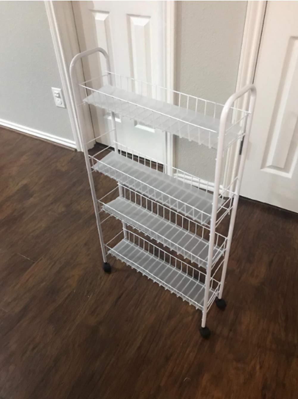 Yontree 3-Tiers Kitchen Storage Cart Gap Storage Rack with Mesh Wire Basket Rolling Cart on 4 Wheels