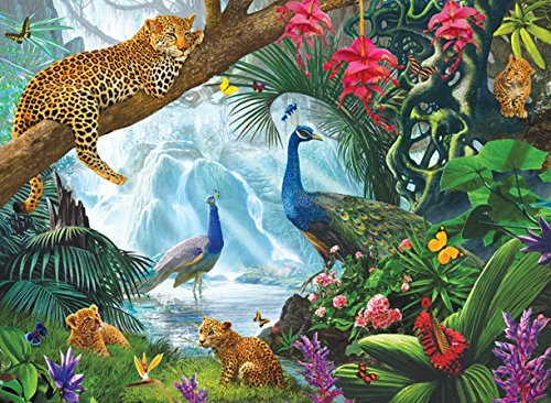 Peacock and Leopards 1000 pc Jigsaw Puzzle