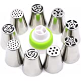 Kurtzy Stainless Steel Icing Nozzles With 1 Coupler For Decorating Frosting Cupcake Pastries Desserts Tarts Pie Set of 9 Assorted