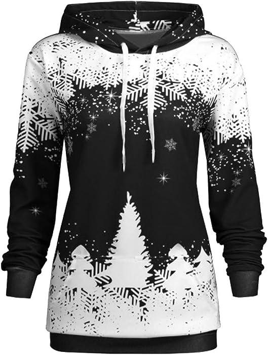 Sudadera con Capucha Mujer Navidad, Nieve Imprimir otoño Fiesta de Invierno cálido Manga Larga Sudadera Blusa Absolute