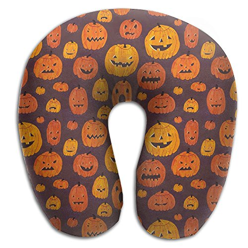 Creative Cute Funny Halloween Pumpkin Design Comfortable U Shaped Neck Pillow Soft Neck Support Pattern Pillow For Rest,Travel,Car,Airplane,Bed,Sofa (Ideas For Painting Pumpkins For Halloween)