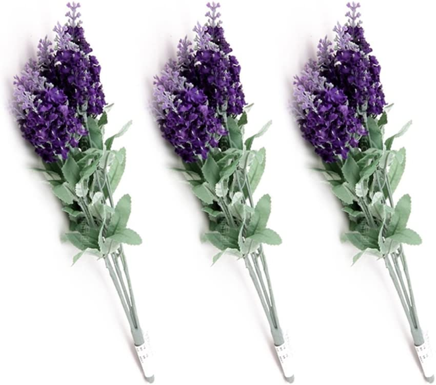 Generic Artificial Lavender Silk Flower Home Wedding D¨¦cor, 3 bouquets 30 Heads, Dark Purple