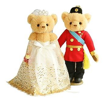 Lovely Wedding marrón Bears – osos de peluche boda regalo (velo de oro/rojo