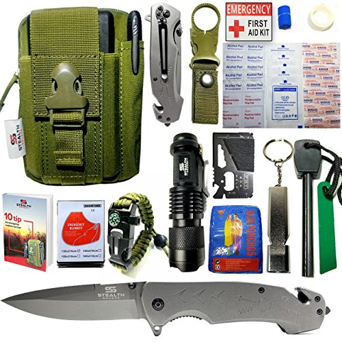 Survival Knives Army (EMERGENCY SURVIVAL KIT 42 in 1 MILITARY POUCH, TACTICAL POCKET KNIFE, FIRE STARTER, BLANKETS, COMPASS BRACELET, FIRST AID KIT, WHISTLE, CAMPING, HIKING, HUNTING, PREMIUM OUTDOOR GEAR w/ BONUS E-BOOK)