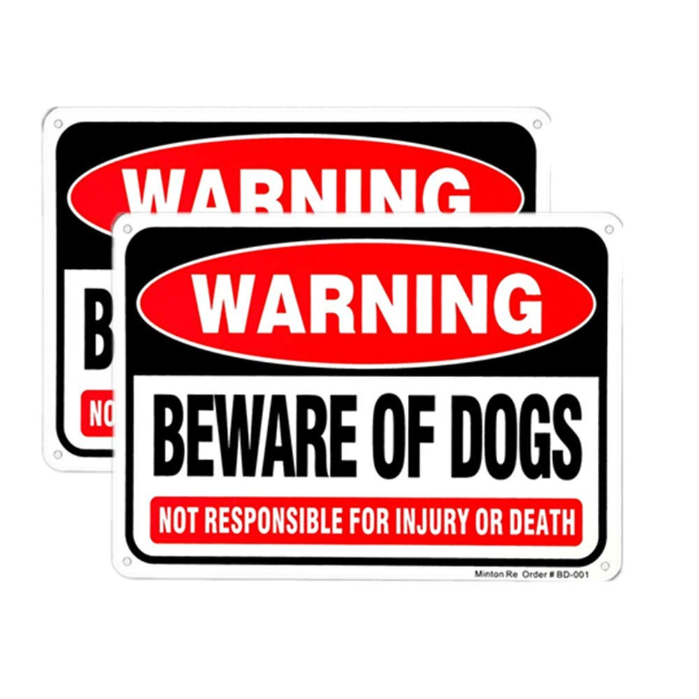 2 Pack Beware of Dog Sign UV Printed Reflective Weather Resistant Dog Bite Sign for Outdoors 10 x 7 Rust Free Aluminum Warning Dog Sign