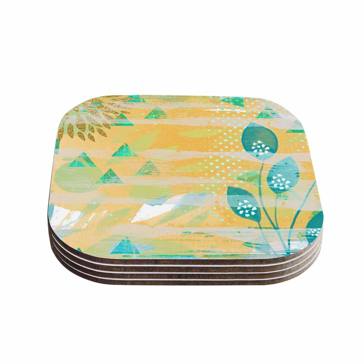 Multicolor KESS InHouse Li ZamperiniFoliage Yellow Green Coasters 4 x 4 Set of 4