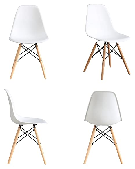 nufurn Eames Style Designer Dining Chair, Living Room Chair (Set of 4) White