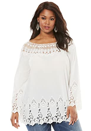 d3b42dec58f Roamans Women's Plus Size Bell-Sleeve Embroidered Lace Tunic - White, ...