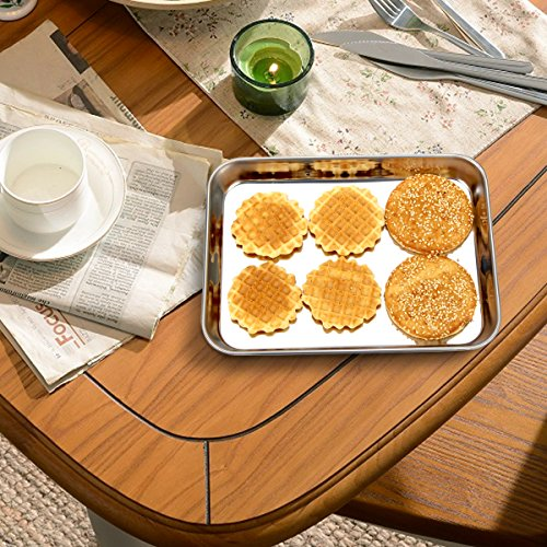 Baking Sheet Pan for Toaster Oven, Stainless Steel Baking Pans Small Metal Cookie Sheets by Umite Chef, Superior Mirror Finish Easy Clean, Dishwasher Safe, 9 x 7 x 1 inch, 3 Piece/set … by Umite Chef (Image #6)