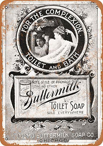 Wall-Color 7 x 10 METAL SIGN - 1895 Buttermilk Toilet Soap - Vintage Look Reproduction (Bathroom Vintage Signs)