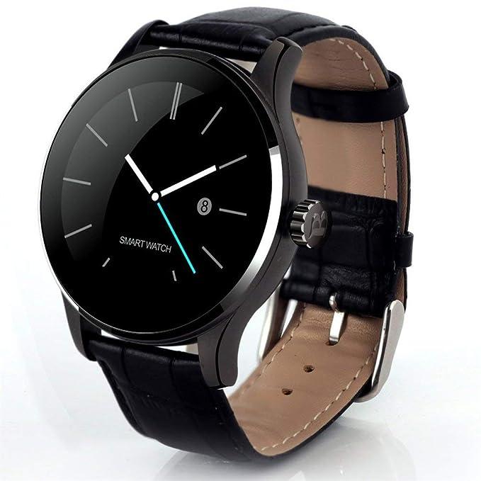 K88H moda hombre estilo mujer cinturón de cuero monitor de sueño reloj ultradelgado estilo redondo pulsera inteligente: Amazon.es: Ropa y accesorios