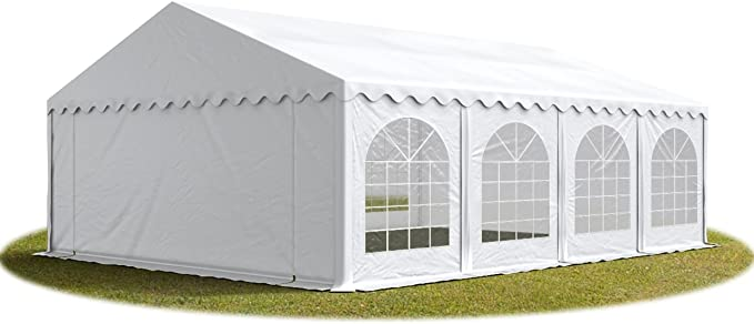 TOOLPORT Carpa de Fiesta 6x8 m Lona PVC Aprox. 500g/m² 100% Impermeable con Estructura de Suelo Blanco