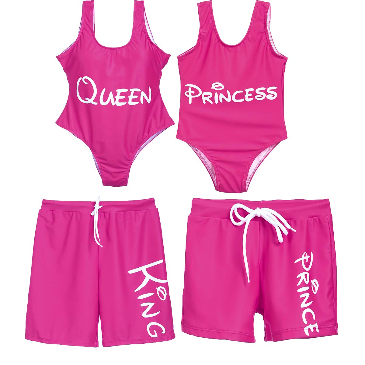 Mommy and Me Swimsuit Family Matching Mother Daughter King Queen Princess Prince Swimwear Bathing Suit (Rose,Girls, 1T)