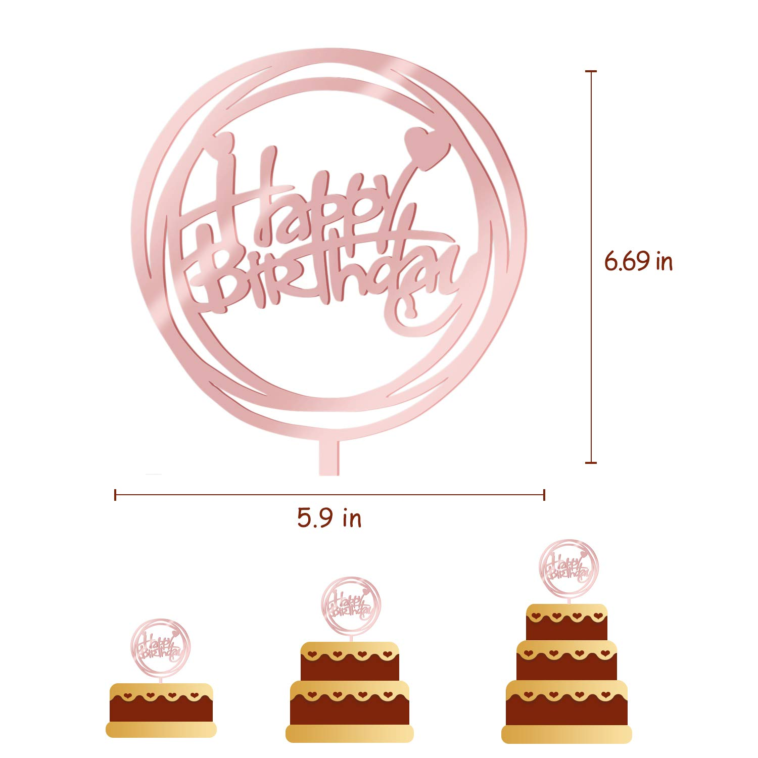 2019 New Happy Birthday Cake Topper Acrylic Cupcake Topper Circle heart shape rose gold Birthday Decorations Food-Safe Perfect Keepsake (D)