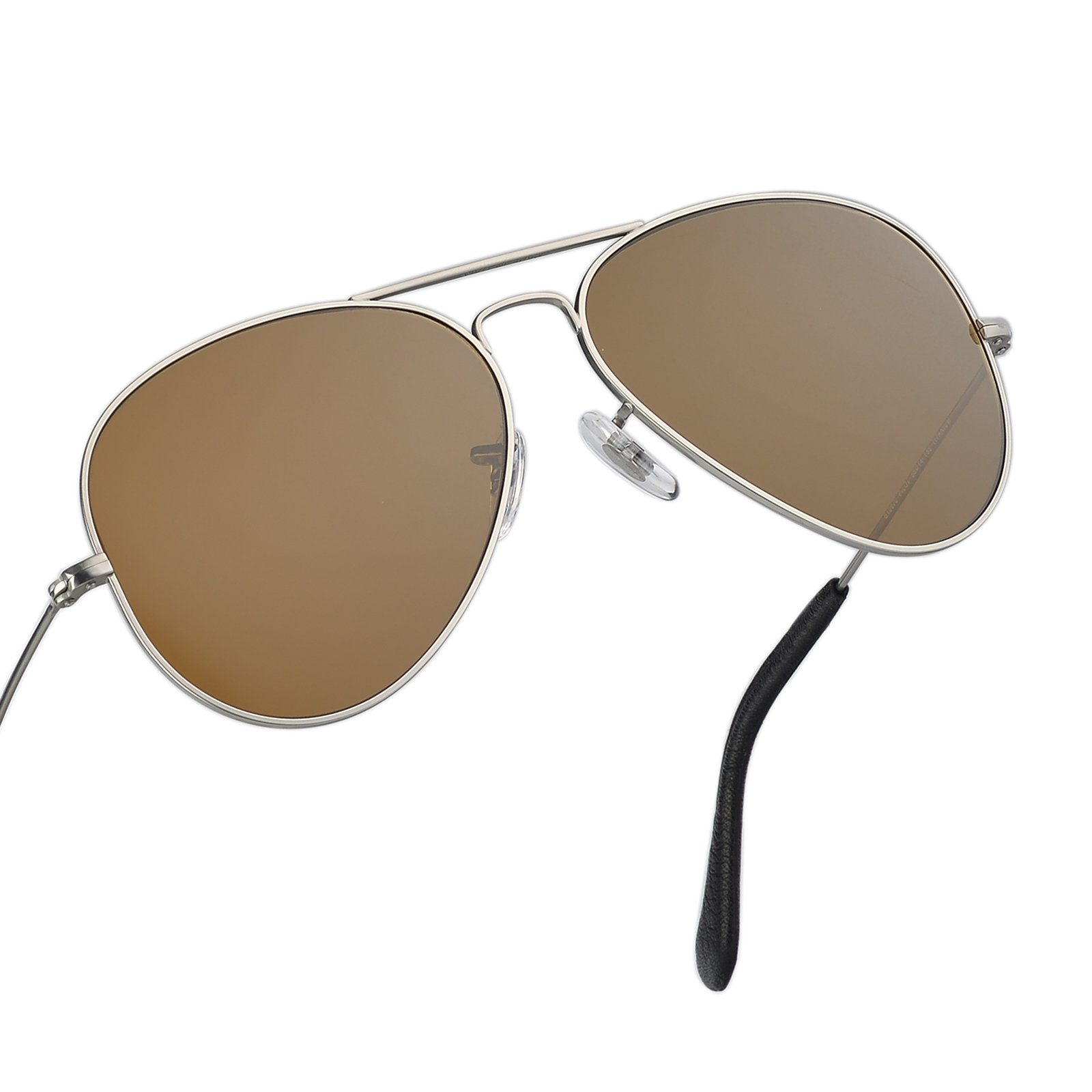 Italy made pilot titanium sunglasses w. corning natural glass truecolor polarized (Brown, Silver Titanium)