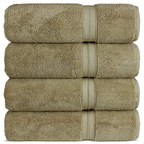 Luxury Premium Turkish Cotton 4-Piece Bath Towels, Long-Stable 20/2, 2 Ply Turkish Ring-Spun Cotton Yarn makes the luxe-factor, Eco-Friendly, (Driftwood)