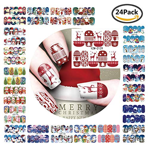 Christmas subject nail stickers,Nail Art Travel sticker Beauty Nail Decorations Toolnail paster, Easy Nail wrap Set for Finger or Toe,24 ()