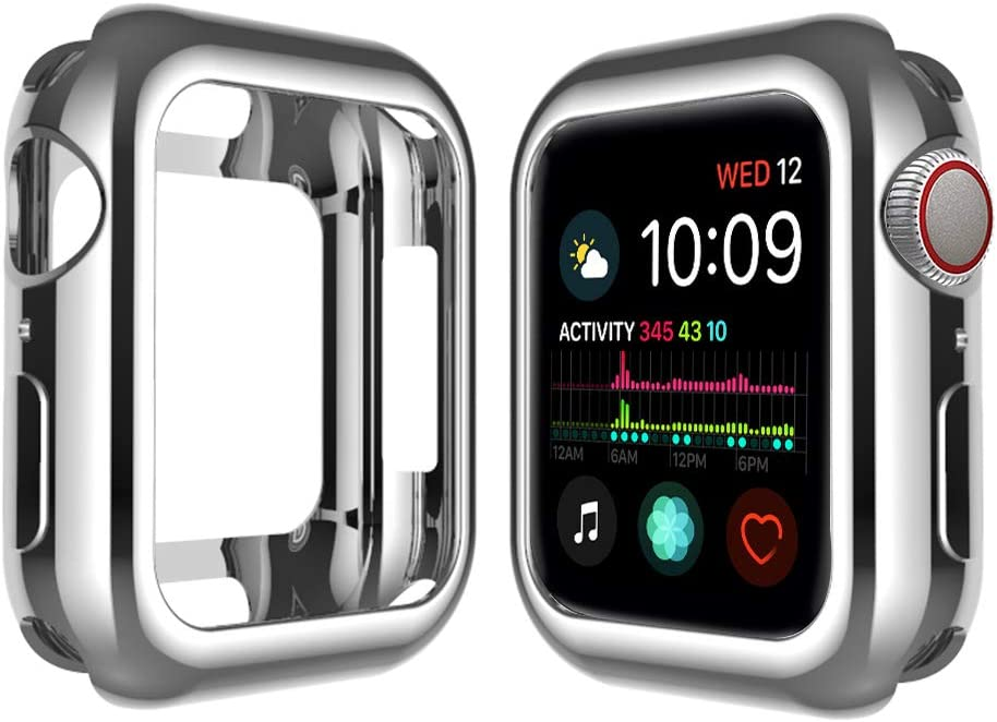 Qinfeng Shock-Proof Anti-Scratch and Shatter-Resistant Soft Slim TPU Protective Cover Bumper Case Compatible with Apple Watch Series 44mm 42mm 40mm 38mm 4 3 2 1 (Shiny Silver, 40MM)