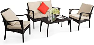 Tangkula 4-Piece Outdoor Patio Set, All Weather Resistant Wicker Conversation Set, with Coffee Table, Loveseat and Chairs, Suitable for Garden Deck Backyard Poolside (1, Beige)