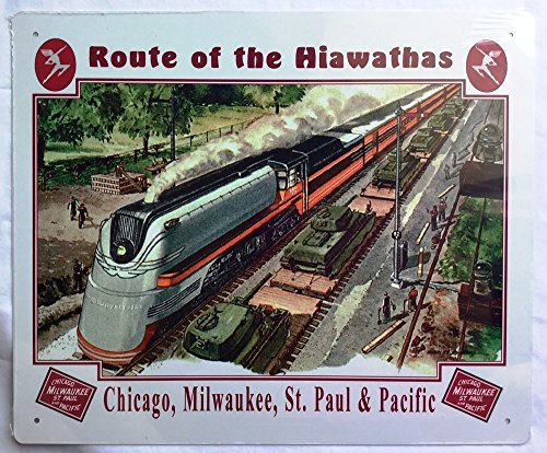 RR Railroad Tin Sign - Milwaukee Road Train Wall Decoration (Hiawatha)