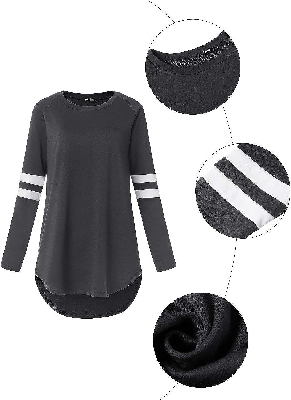 VONDA Womens Baseball T-Shirt Long Sleeve Round Neck Loose Raglan Top