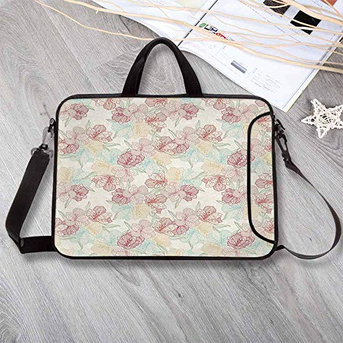 """Floral Large Capacity Neoprene Laptop Bag,Vintage Orchid Arrangement Soft Colored Abstract Blossoming Nature Pattern Laptop Bag for 10 Inch to 17 Inch Laptop,15.4""""L x 11""""W x 0.8""""H ()"""