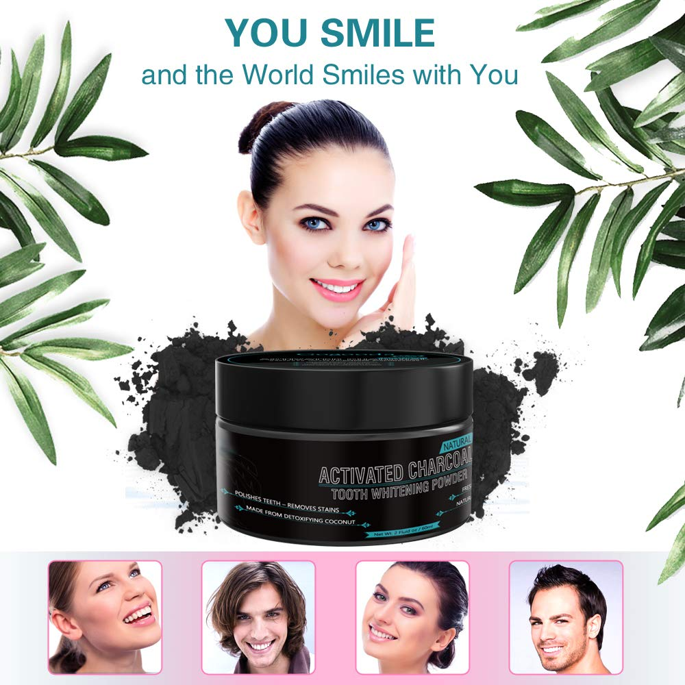 Bellamei All Natural Activated Coconut Charcoal Teeth Whitening Powder Gently Removes Tabaco, Coffee and Tea Stains - Mint Flavor