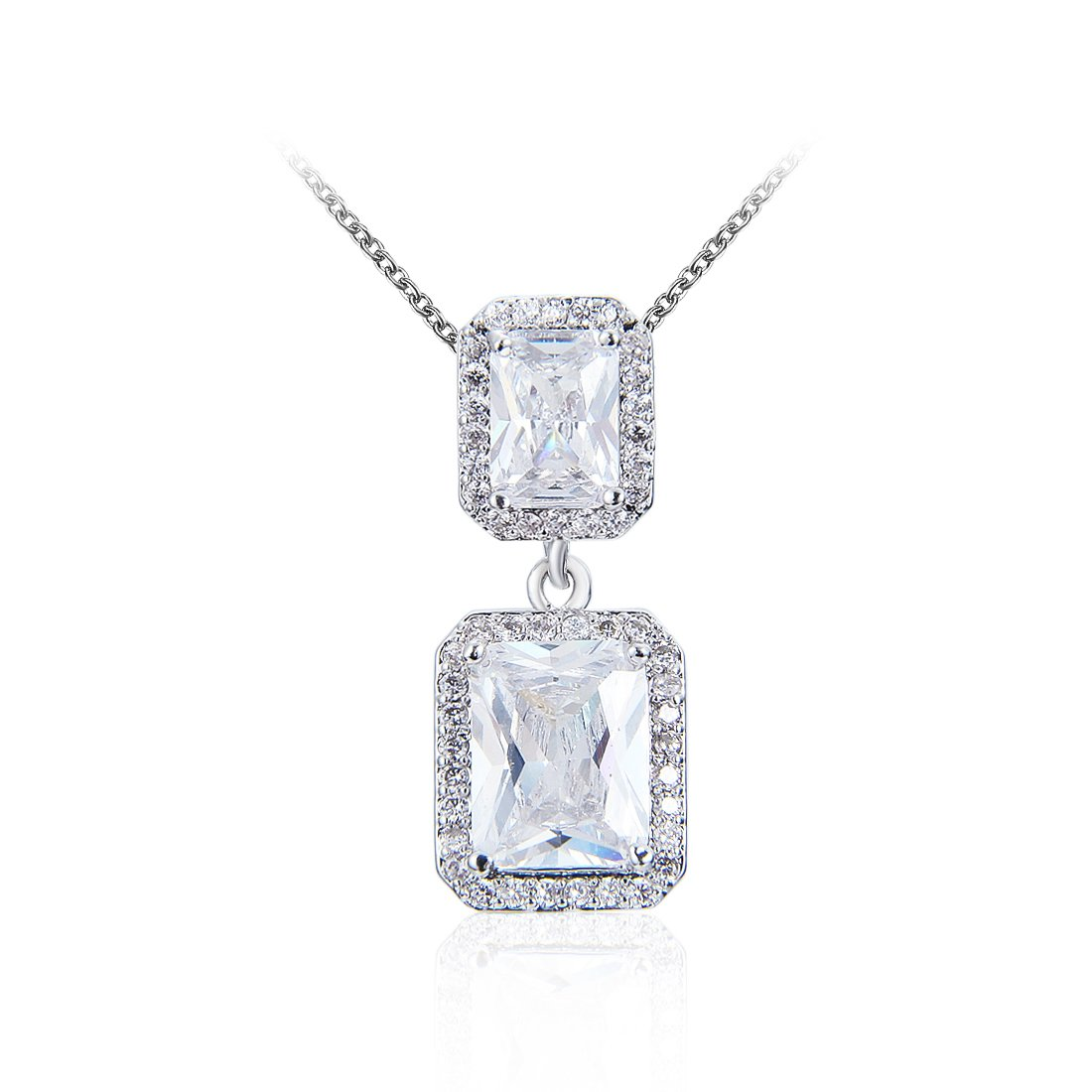 Wordless Love Jewelry Sets for Women Cubic Zirconia Party Earrings Pendant Necklace Set by Wordless Love (Image #4)
