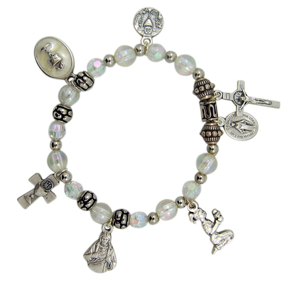 Silver Tone First Communion Multiple Charm Bracelet with Glass Beads, 6 Inch