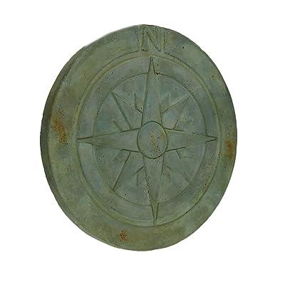 Zeckos Compass Rose Symbol Green Verdigris Finish Round Cement Step Stone 10 Inch : Garden & Outdoor