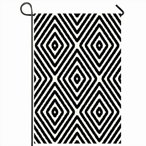 Ahawoso Garden Flag 12x18 Inches Straight Angle Geometric Black White Rhombus Pattern Damask Abstract Chaotic Corner Diagonal Design Outdoor Seasonal Home House Yard Sign Double Sides Printed Banner