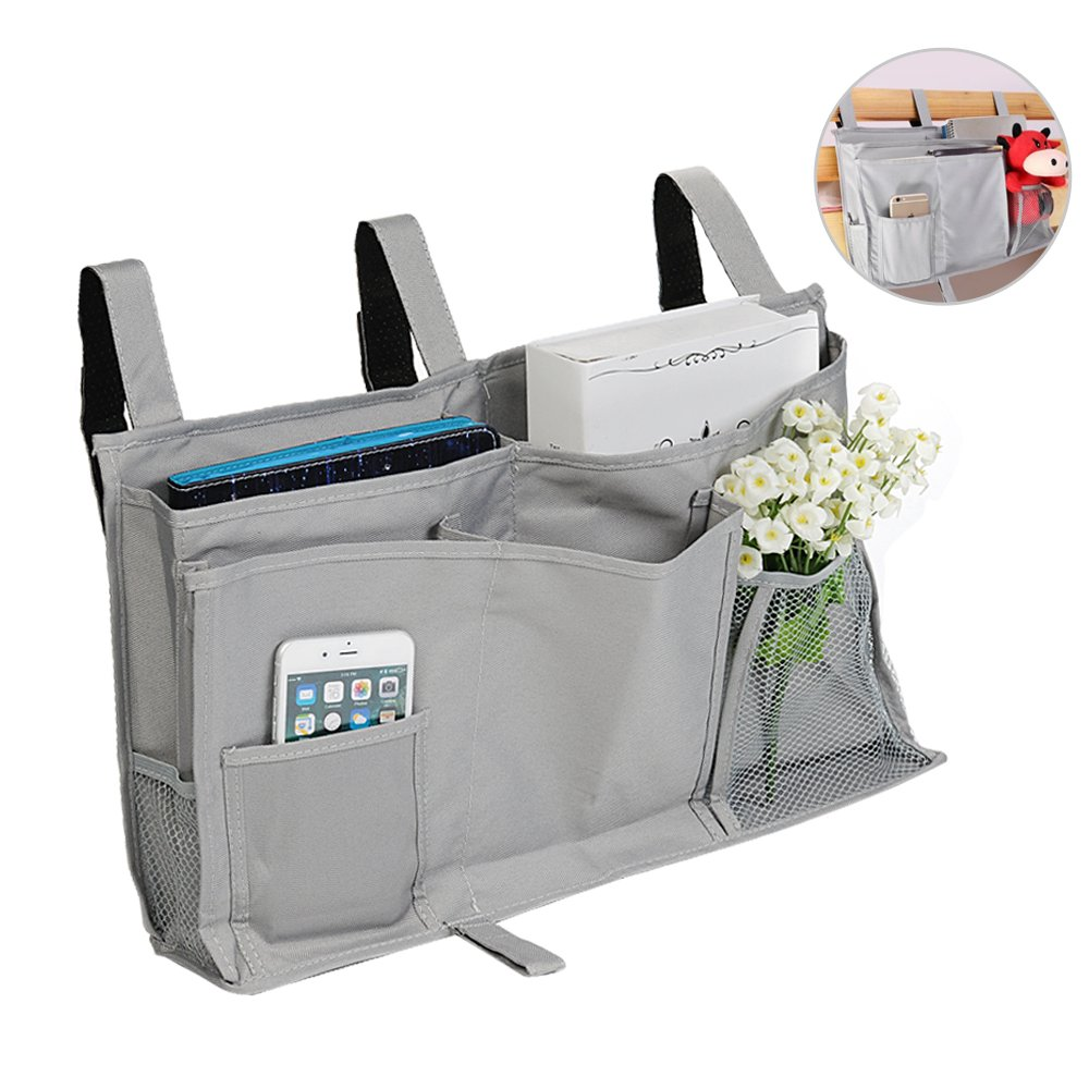 Bedside Caddy Organizer Storage - Hanging Organizer Bags with 8 Pockets for Headboards Bed Rails Dorm Rooms Bunk Beds Hospital Beds - Gray